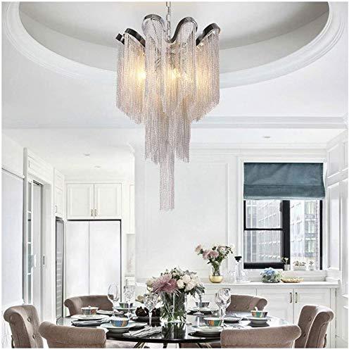 Kroonluchter Moderne minimalistische gegolfde kwast aluminium ketting kroonluchter restaurant woonkamer hanglamp slaapkamer productie