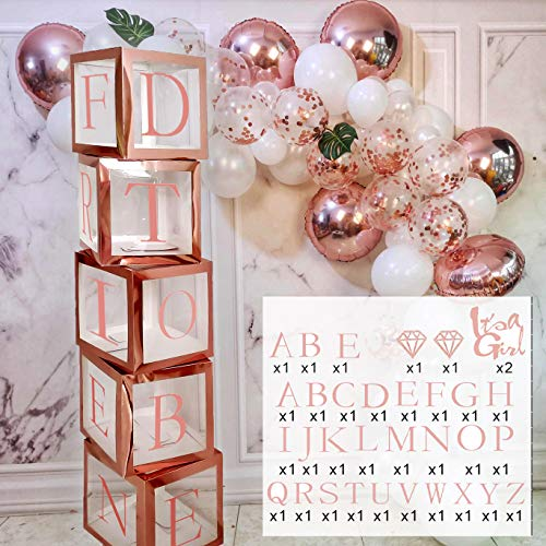 Bridal Shower Decorations Rose Gold Boxes | Bachelorette Party Decorations | Baby Shower Decorations for Girls | Happy Birthday Decorations Balloon DIY Name Box with A-Z Letters & Balloons JSN PARTY