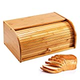 Jolitac Bread Box Large Countertop Bread Storage Bin Bamboo Wood Roll Top Bread Box Kitchen Food Storage Large Capacity Bread Keeper