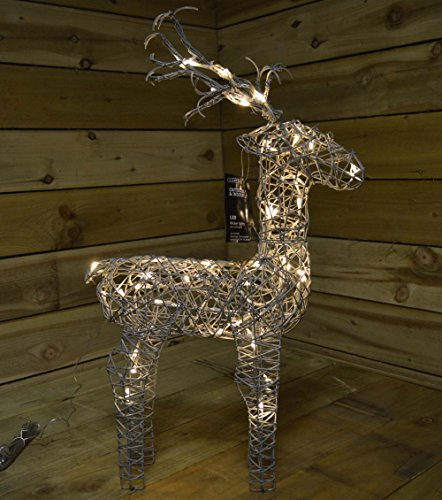 60cm Tall Outdoor / Indoor Grey Wicker Reindeer with 48 Warm White LED Lights by Kaemingk