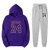 Anoauit Chándal para Hombre Lakers Kobe # 24 Ropa Deportiva para Hombre Sudadera Informal Pantalones Largos Suéter Chándal Joggers Sudadera con Capucha Pantalones Conjunto de Pantalones-Medio