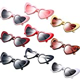 9 Pairs Heart Shaped Sunglasses Vintage Heart Sunglasses Women Retro Eyeglasses for Shopping Traveling Party Accessories (Multi Color)