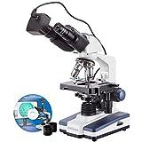 AmScope ダブルレイヤー3DメカニカルステージとUSBデジタルカメラと40X-2000X LED双眼鏡化合物デジタル顕微鏡
