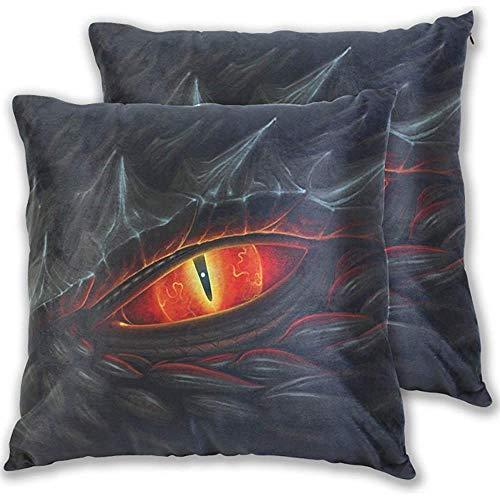 Fundas de almohada Black Dragon Blood Red Eyes, 18X18 en fundas de almohada, protectores de impresión de doble cara para decoración del hogar