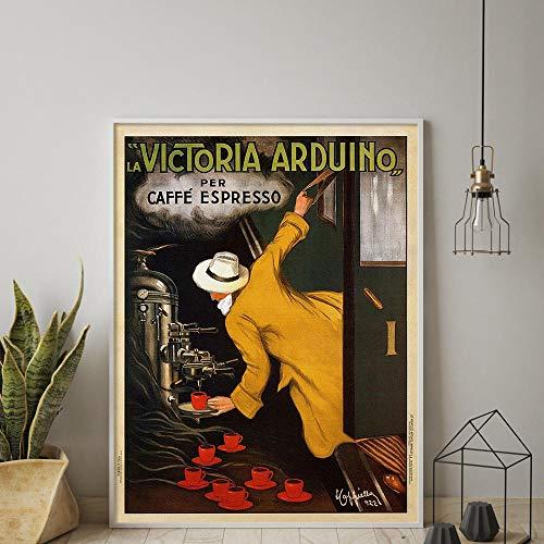 ヴィンテージフレンチラビクトリアアルドゥイーノコーヒーレトロカフェレストランプリントアート家の装飾アートワークポスター部屋の装飾50x70cmフレームなし