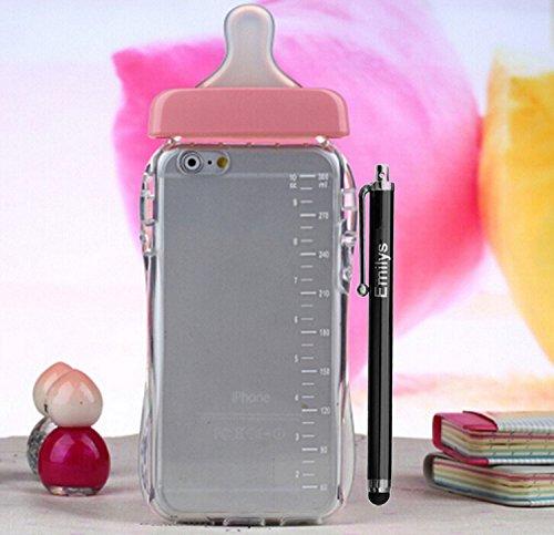 5s/6/6Plus Schutzhülle, Emilys iPhone 5s/6/6Plus Hülle, Emilys Mode neue süße Füttern Schnuller Milch Flasche Soft TPU Transparent Back Schutzhülle für Iphone 5S/6/6Plus, plastik, rose, iphone 6 Plus/6S Plus 5.5