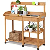 Topeakmart Outdoor Garden Potting Bench Potting Table Work Bench with Removable Sink Drawer Rack Shelves Work Station Wood