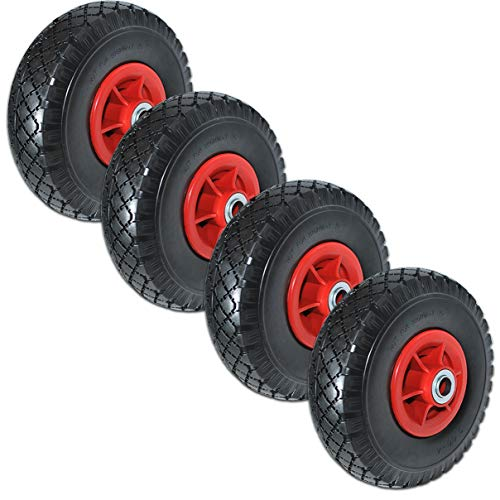 HELO Sackkarrenrad Ersatzrad 3.00-4 PU Vollgummi Reifen Gummirad pannensicher B-70 mm 1 Stück/2 Stück/4 Stück (4...