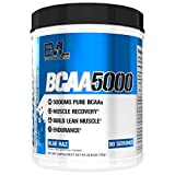 Evlution Nutrition BCAA5000 Powder 5 Grams of Branched Chain Amino Acids (BCAAs) Essential for Performance, Recovery, Endurance, Muscle Building, Keto Friendly, No Sugar (90 Servings, Blue Raz)