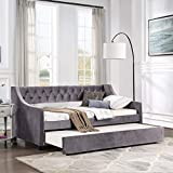 Flieks Twin Upholstered Daybed, Linen Fabric UpholsteredTufted Sofa Bed with Trundle, Sofa Bed Trundle Daybed with Wood Frame (Grey)