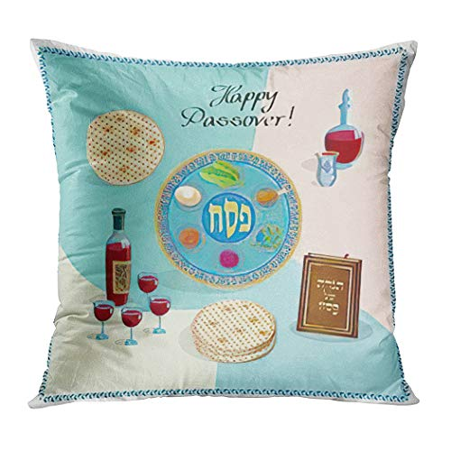 Hanukkah Throw Pillow Cover,Happy Passover Holiday Greeting Symbols Four Wine Glass Mat,Cushion Cases Shams for Indoor Outdoor Home Decor Living Room Bedroom Office Cotton Pillowcase,18'x18'