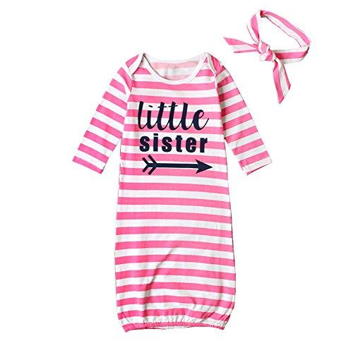 STKEN STKEN Baby Mädchen Kleine Schwester Einheitsgröße Langarm Nachthemd Schlafanzug Säugling mit Nach Hause Nehmen Kleider mit Stirnband