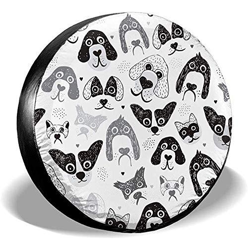 WCHAO Nahtlose Pudel-Hunde und Welpen-Illustrations-Hand gezeichnetes Hintergrund-Muster in der Vektor-Ersatzrad-Reifen-Abdeckungs-Universalität