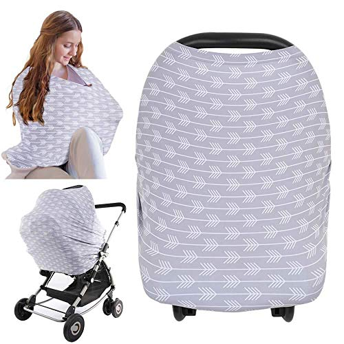Carseat Canopy Cover - Baby Car Seat Canopy KeaBabies - All-in-1 Nursing Breastfeeding Covers Up - Baby Car Seat Canopies for Boys, Girls - Stroller Covers - Shopping Cart Cover (Tribal Arrow)