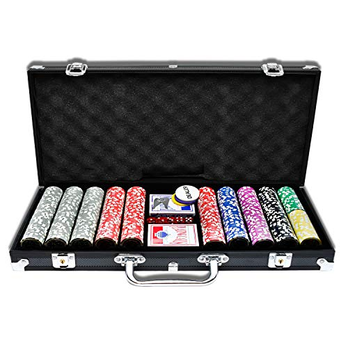 Aufun Pokerkoffer 500 Chips Laser Pokerchips 12 Gramm Metallkern, inkl. 2X Pokerdecks, 5X Würfel, Dealer Button, Big Blind, Little Blind, Poker-Set mit Schwarz Aluminium Gehäuse mit 2 Schlüssel