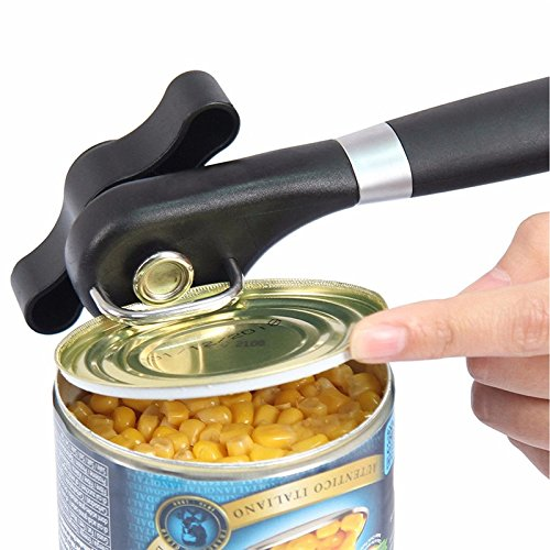Kuce, apriscatole manuale, con impugnatura ergonomica e antiscivolo, per il taglio laterale, per la casa, il ristorante in acciaio inox