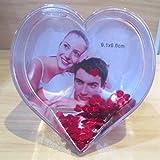 Marco de fotos con forma de corazón con purpurina corazón Schüttelherz 3D efecto 9,6 cm engalanacon Valentintstag o de cualquier mesa para velas