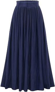3f76a777b65a1a ZhuiKun Donna Gonna Lunga Plissettata a Vita Alta Elastico Maxi Gonne  Elegante Blu Scuro