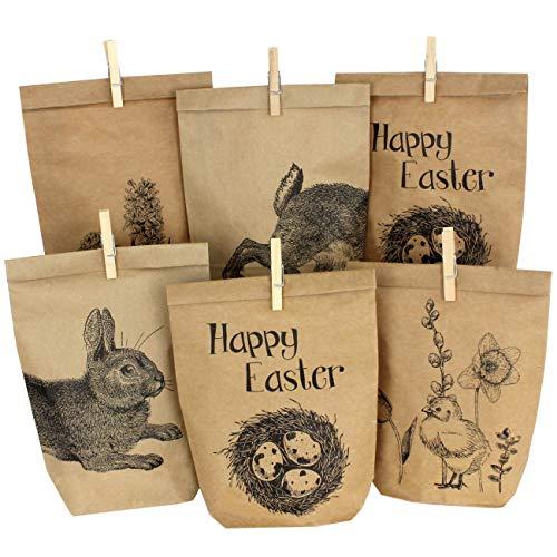 Papierdrachen 12 Bedruckte Tüten zu Ostern mit Hasen, Blumen und Küken - ideale Geschenkidee oder Oster Dekoration - mit Holzklammern | Osternest zum Basteln und Verschenken