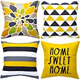 WLNUI Set of 4 Decorative Pillow Covers 18x18 Inch Yellow Geometric Modern Throw Pillow Covers Home Sweet Home Decorative Square Cushion Case for Sofa Couch Chair Farmhouse Home Decor