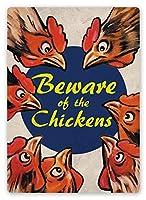 Beware Of The Chickens 注意看板メタル安全標識壁パネル注意マー表示パネル金属板のブリキ看板情報サイン