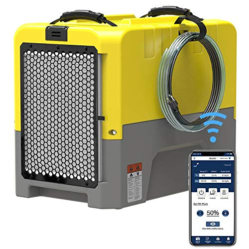 ALORAIR 180PPD Commercial Dehumidifier for Crawl Space & Basement, Wi-Fi APP Controls with Pump, Capacity up to 85 PPD at AHAM Condition, for Large Space, Job Sites, Yellow
