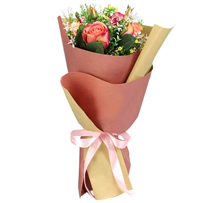 BBC Korean Style Double Colors Craft Paper Flower Bouquet Wrapping Paper Floral Wraps Supplies, 20 Sheets, 23.6x23.6 inch (Pink)