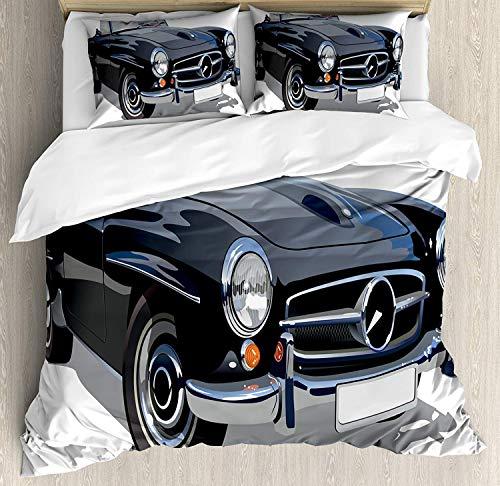 YnimioHOB Cars Bettwäscheset, Klassisches Retro-Fahrzeug Antikes Cabrio Prestige Old Fashion Revival, Dekoratives 3-teiliges Bettwäscheset mit 2 Kissenbezügen, Grauweiß