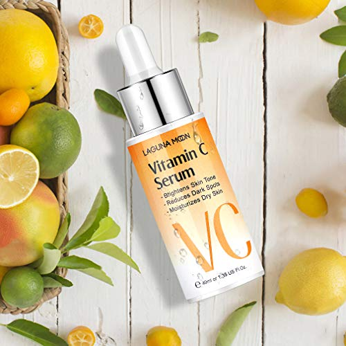 510AK5ptCML - Vitamin C Serum for Face - Facial Serum with Hyaluronic Acid & Amino Acid, Anti-Aging Serum, Increase Skin Hydration & Reduce Fine Lines & Wrinkles Lagunamoon- 1.4 Oz Dropper Bottle