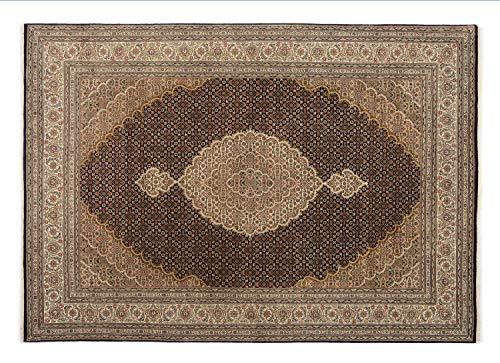 PARISA MAHI un tapis noué main d`orient classique laine noir - créme Taille: 90x160 cm