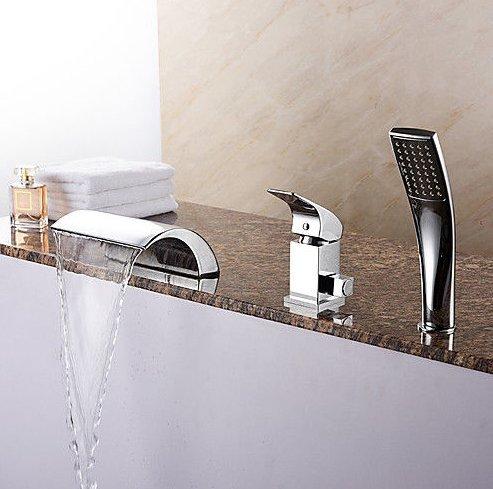 Grifo de ducha romano moderno con mango cromado para bañera