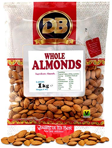 Almonds 1KG Whole raw, 100% Raw Whole Almonds, Premium Quality Almonds, Source of Protein and Fiber, Ideal for Keto & Paleo, Natural Whole Almonds