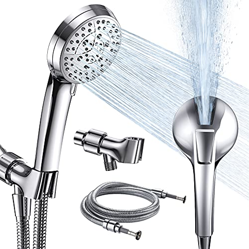 High Pressure Handheld Shower Head 6+1 Mode, Built-in Power Wash to Clean Tub, Tile and Pet, 360° Adjustable Brass Connection, 5 ft Watertight Stainless Steel Hose
