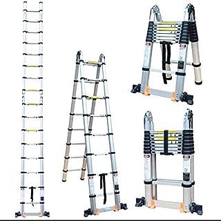 Multi-Function Folding Aluminum Ladder Telescopic Expansion Stepladder Folding Super Heavy Duty Indoor Outdoor Home('I' Sh...