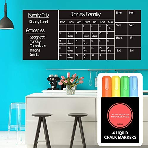 """Wall Calendar Chalkboard Dry Erase Calendar (X Large 53""""x 22"""") Monthly, Weekly Organizer, Drawing Board, 4 Liquid Chalk Markers & Eraser, 2019 Planner for Family Activities, Chores, School, Work"""