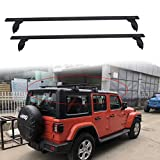 poueae Roof Rack Cross Bars Aluminum Luggage Rack Black Replacement for Jeep Wrangler JL Unlimited 2/4 Door 2018-2020,Curved Design&Features Keyed Locking Mechanism Lossless Installation