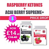 Acai Berry 1000mg 120 Capsules + Raspberry Ketones 600mg ( 60 Capsules )- Premium Quality - Fat Metabolism, Weight Management, Fat Burner, Natural Ingredients, UK Manufactured, Suitable for Vegetarians & Vegans, GMP by Prowise Healthcare