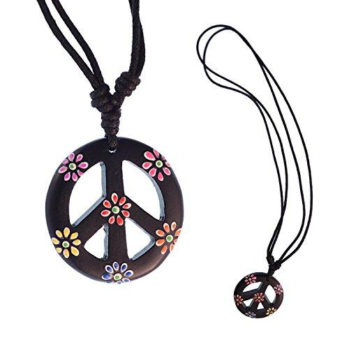 CHICNET® Holzkette Sono Holz Peace Anhänger schwarz Blumen bunt 33 mm verstellbar Baumwolle Hippie
