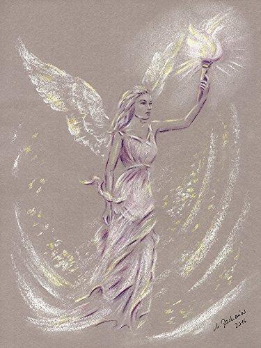 Artland Qualitätsbilder I Wandtattoo Wandsticker Wandaufkleber 45 x 60 cm Fantasy Mythologie Religion Christentum Illustration Lila D4ZN Engel der Hoffnung Engelkunst