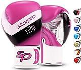Starpro T20 Guantes de Boxeo de Cuero de PU para Entrenamiento y Sparring en Muay Thai Kickboxing Fitness - Hombres y Mujeres - Múltiples Colores - 8oz 10 oz 12 oz 14 oz 16 oz (Rosa Choque, 12oz)