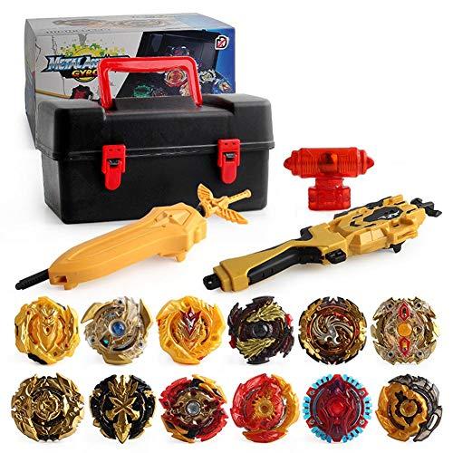 Sue-Supply Golden Gyroscope Set Burst Evolution Launcher Grip Set Top Burst Metal Fusion con Launcher Burst Toys para Niños Regalo para Niños