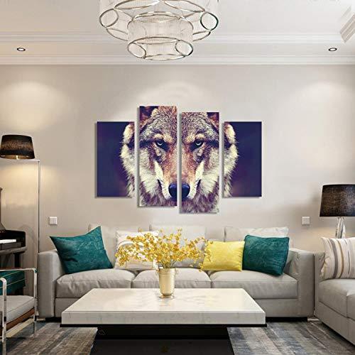 WSNDGWS Hd Inkjet vier leuke wolf dierolieverfschilderij decoratie geen fotolijst 20x40cmx2 20x60cmx2 A1.