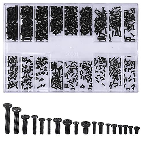 Juego de Tornillos para Computadora Portátil, 500 Piezas M1.2 M1.4 M2 Mix Tornillos Pequeños Micro Tornillos, Kit de Herramientas de Reparación con Caja para Computadora/Reparar gafas/Relojes/Joyería