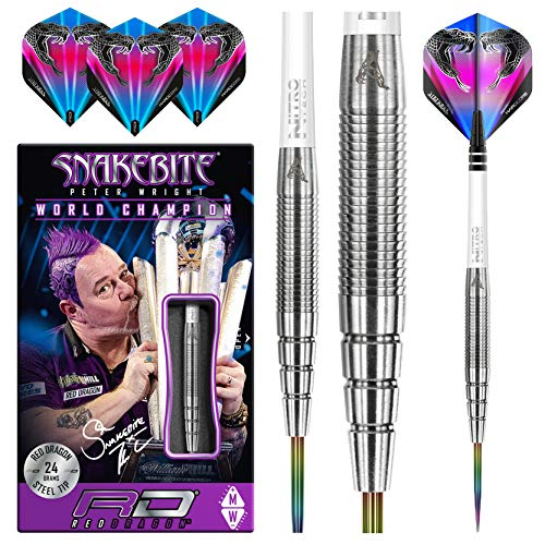 RED DRAGON Peter Wright Snakebite PL15: 24g Tungsten Darts mit Flights und Schäfte