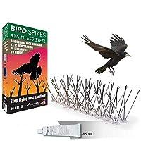 Aspectek Sistema Anti Pájaros de Acero Inoxidable - 10 Hileras de Púas Antipalomas Con Base de Policarbonato Para Control de Aves y Palomas (con Transparent Silicone Glue)