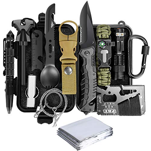 Lanqi Gifts for Men, Emergency Survival kit 14 in 1, Survival Gear, Tactical Survival Tool for Cars, Camping, Hiking, Hunting, Fishing (Survival kit 1)