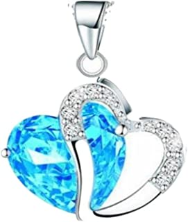 Women Heart Crystal Rhinestone Silver Chain Pendant Necklace Jewelry by