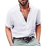 FAMILIZO Camisas Hombre Manga Larga Slim Fit Camisas Hombre Lino Camisas Hombre Originales...