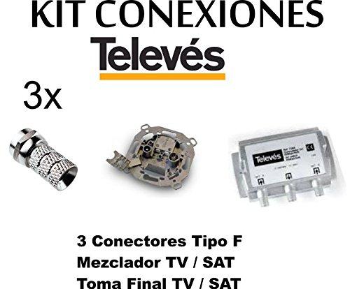 Kit Mezclador DIPLEXOR Separador + Toma SEPARADORA + 3 Conectores -F- TELEVES para Antena PARABOLICA …