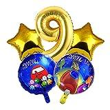 JSJJATF Globos 5 unids Entre los Globos del Tema de los EE. UU. Dorado Azul de 32 Pulgadas Foil Balloons Feliz Cumpleaños Decoraciones de Fiesta Niños Regalos Juguetes (Color : Gold 9)